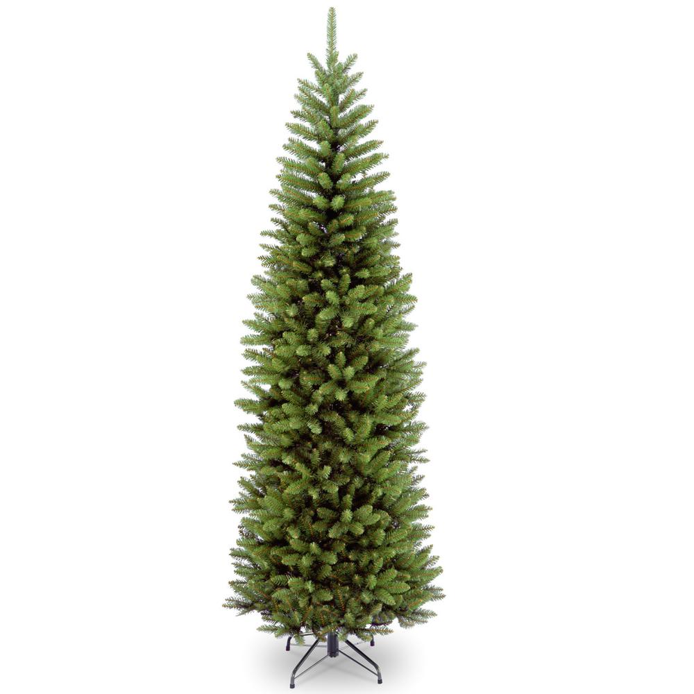 National Tree Company 14 Ft Kingswood Fir Pencil Artificial Christmas Tree Kw7 500 140 The Home Depot Slim Artificial Christmas Trees Pre Lit Christmas Tree Pencil Christmas Tree