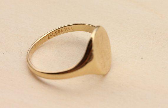Gold Signet Ring 14k Signet Ring K Signet Ring Signet Ring Letter K Ring Initial Ring Gold Ring 14k Ring Size 4 Ring Letter Ring Signet Ring Size 4 Rings Rings