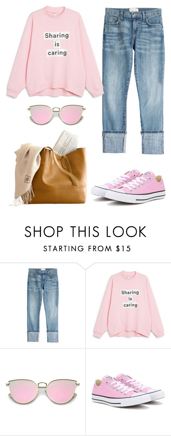 """Share."" by schenonek ❤ liked on Polyvore featuring Current/Elliott, Monki and Converse"