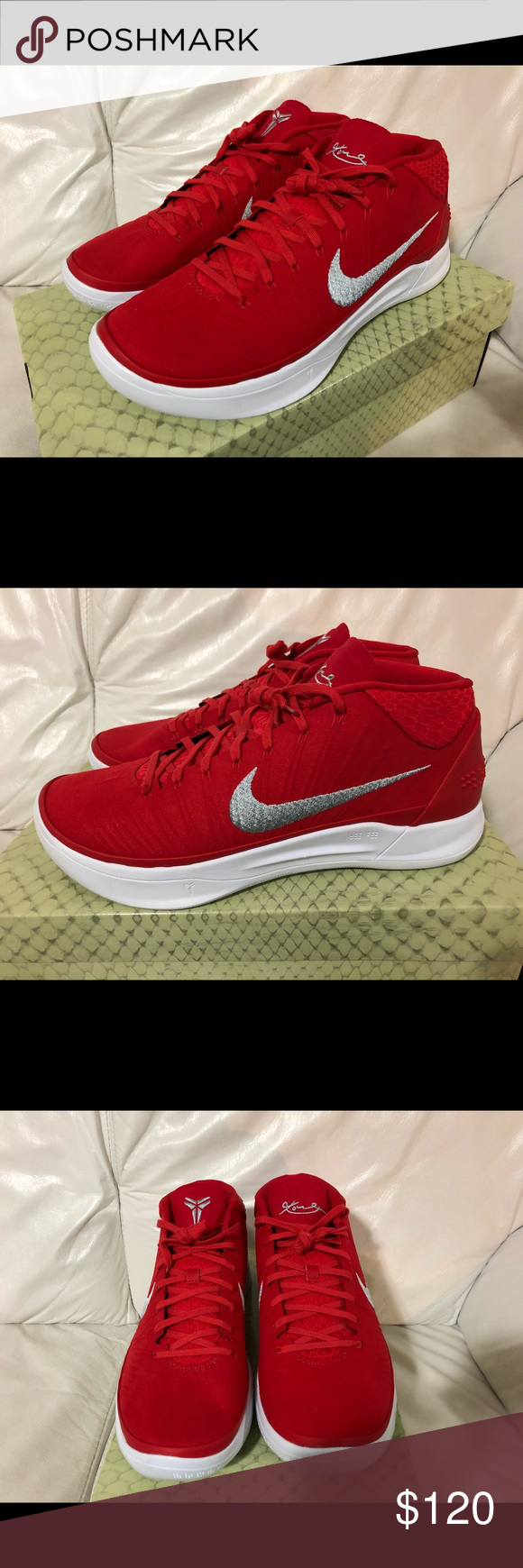 d2f37cf44102 Nike Kobe AD TB Promo Red Silver New Nike Kobe AD TB Promo University Red   Metallic  Silver Men s Size 12 New w   Box. Nike Shoes Sneakers