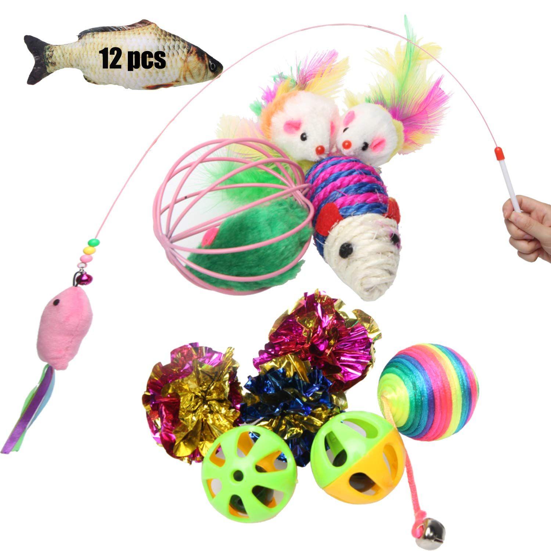 Cat Toys Assortments Set of 13Interactive Cat Teaser Wand