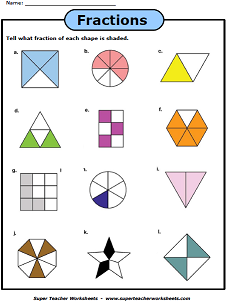 Fractions With Shapes worksheet | Education | Pinterest | Math ...