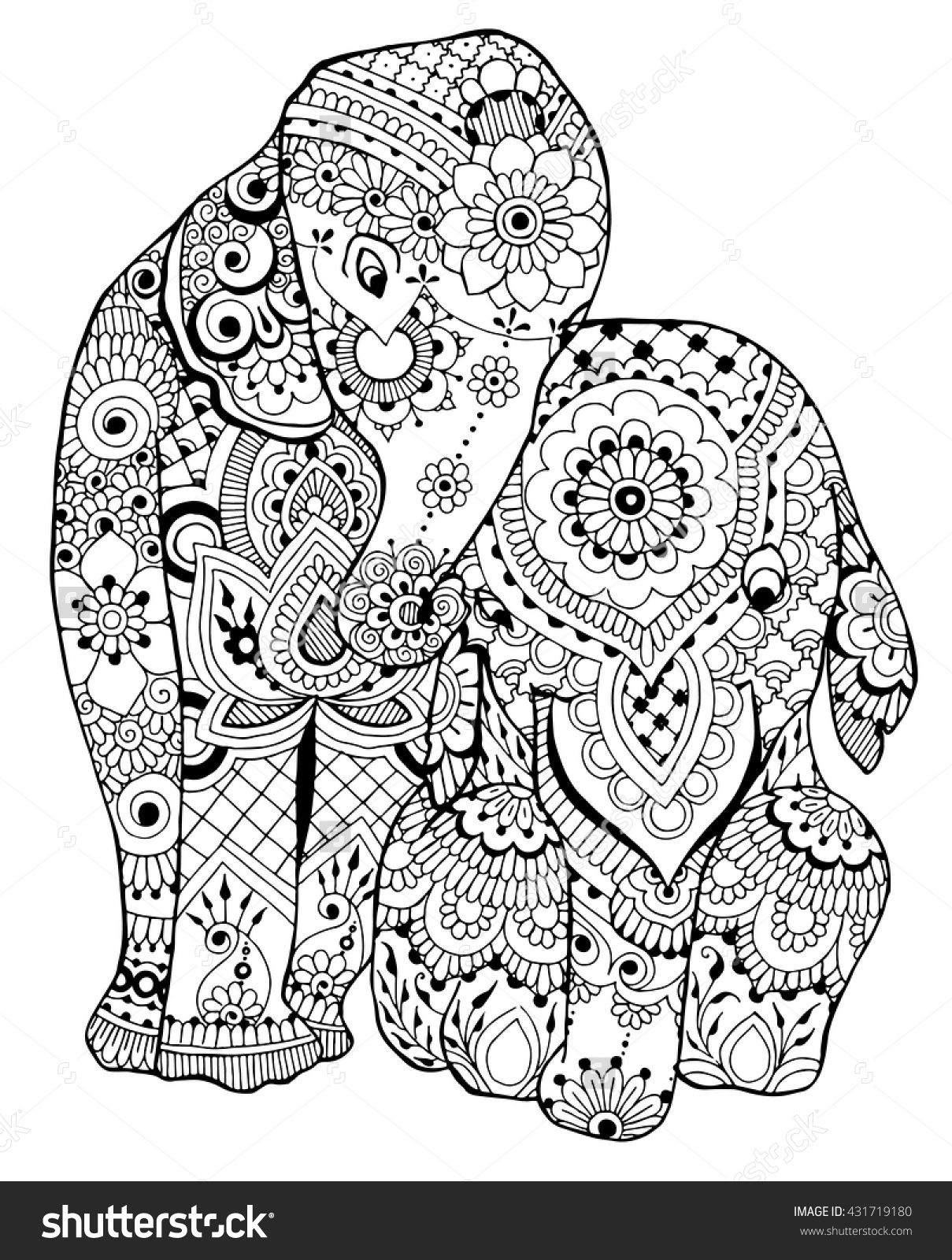 Free zentangle elephant coloring pages ~ Elephants coloring page I 431719180 : Shutterstock | Adult ...
