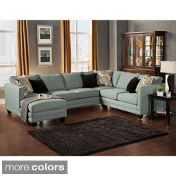 Zeal Lavish Contemporary 3 Piece Fabric Upholstered Sectional With Padded  Fabric Upholstery   $269.99
