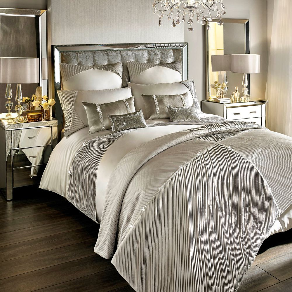 Kylie Minogue Bedding OMARA Champagne / Stone Duvet Cover, Cushion or Throw - luxury bedding range from the Kylie Minogue at Home range in faux silk/ faux satin, designer bedding, SO ever ever popular!