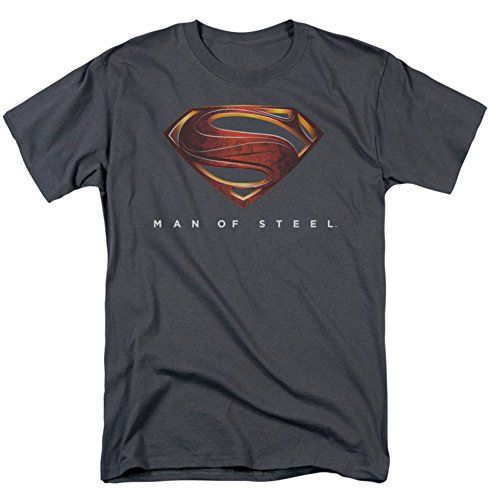 Man Of Steel Superman Mos New Logo Adult Tee Charcoal T-Shirt-Extra Large @ niftywarehouse.com