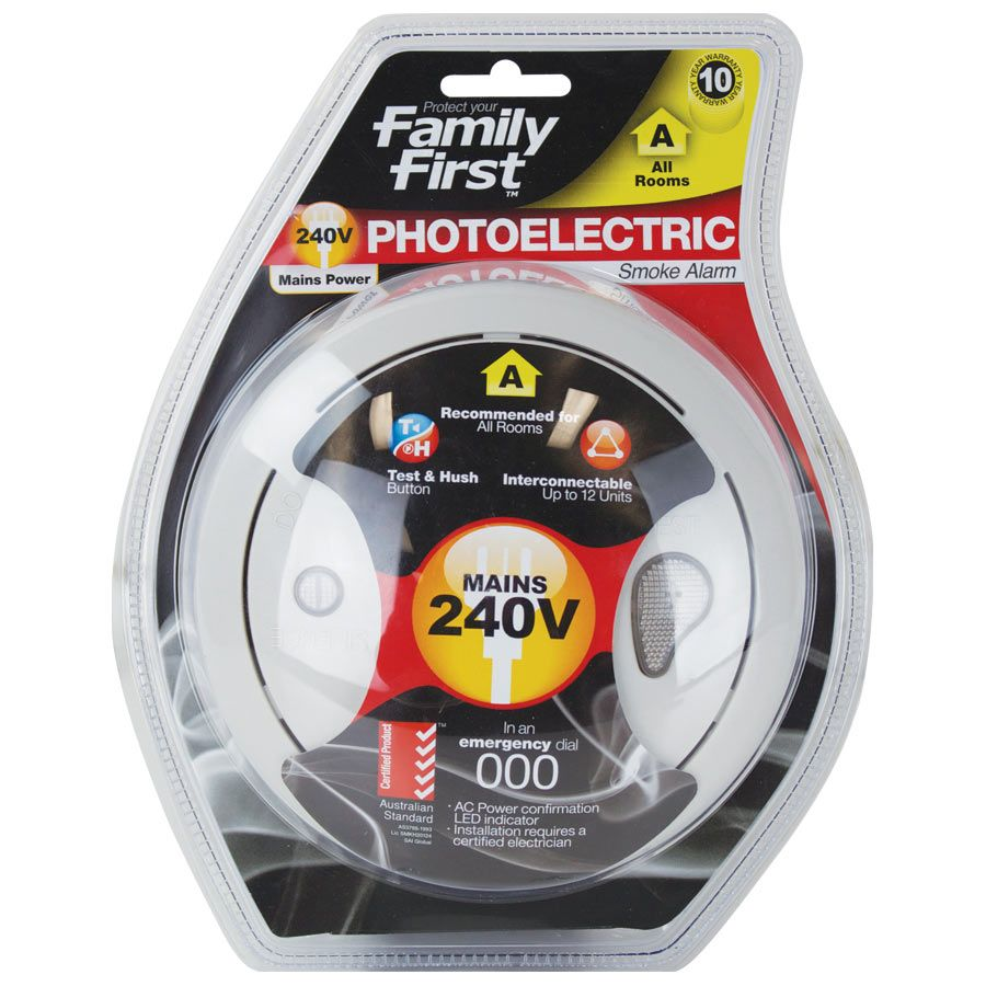 Photoelectric Smoke Alarm 240V Interconnectable Family