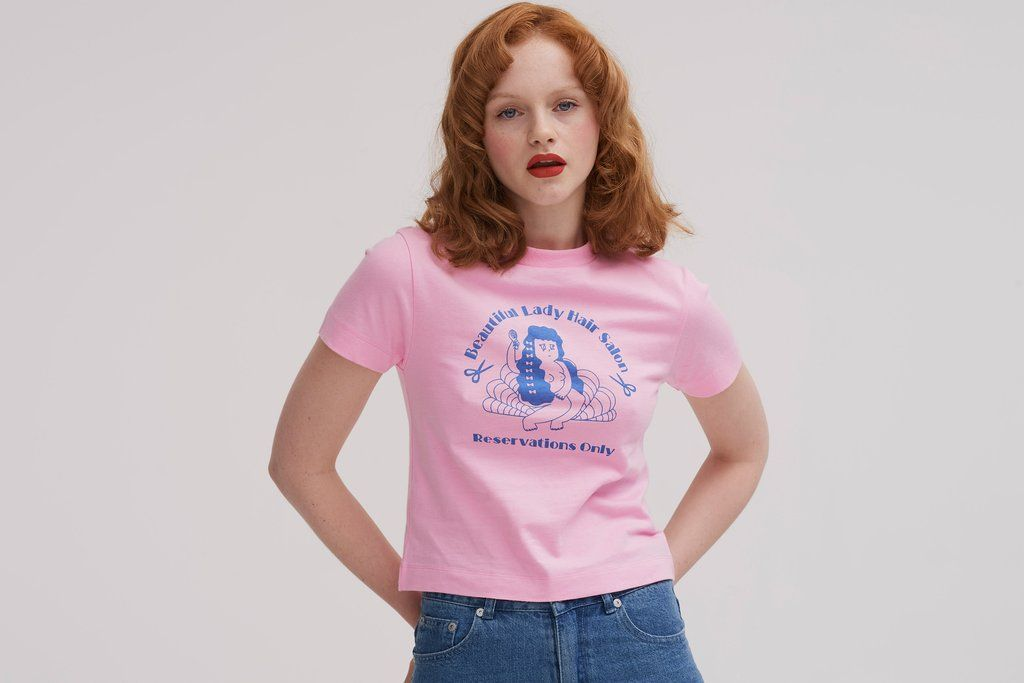 Lazy Oaf Long Hair Don't Care T shirt. Fitted short sleeve t