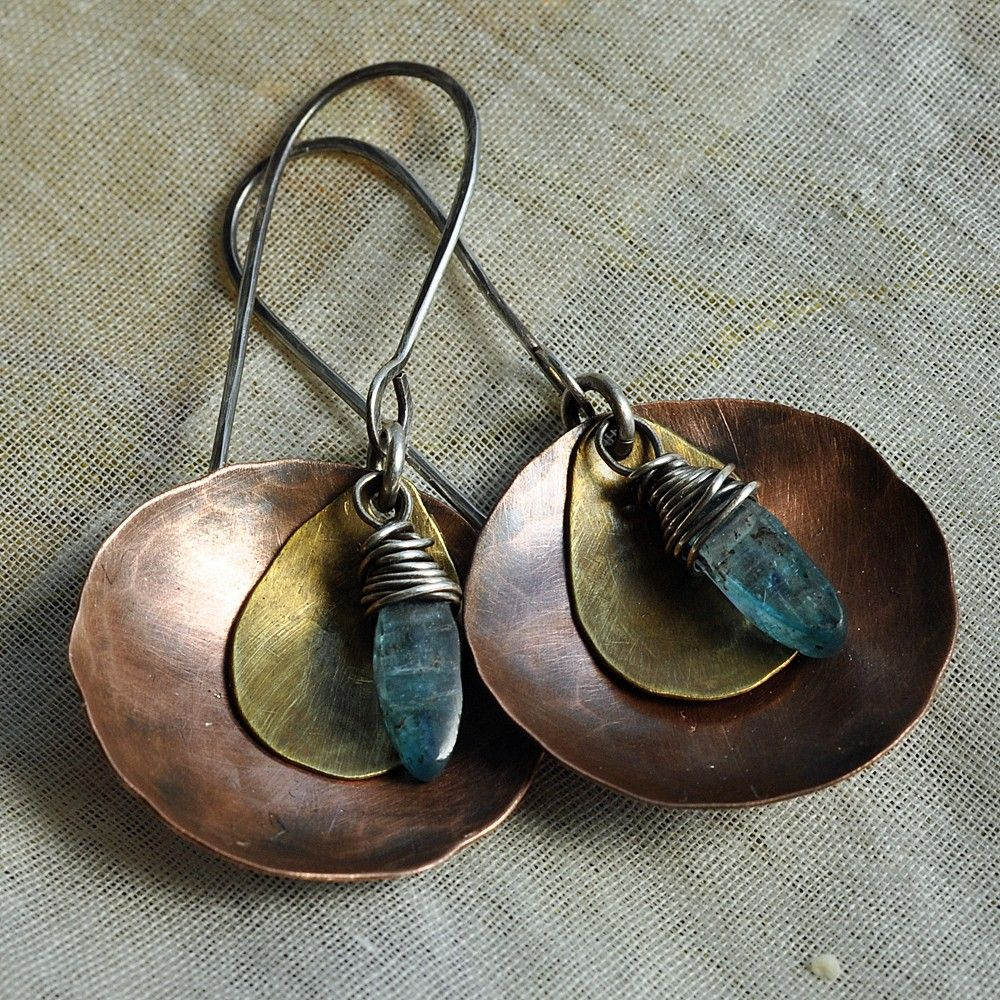 From Etsy Handmade Hammered Copper Disc With Kyanite Drop Earrings In Stock 46 By