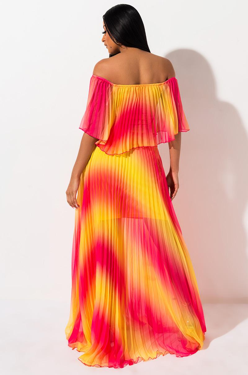 Taste The Rainbow Pleated Maxi Dress Dresses Maxi Dress Shoulder Maxi Dress [ 1209 x 800 Pixel ]