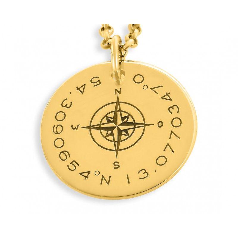 Kompass Kette vergoldet Kette mit Koordianten Gravur Maritimer Schmuck