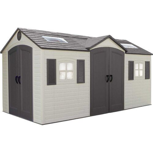 Lifetime Dual Entry 15 ft. W x 8 ft. D Outdoor Storage Shed,…