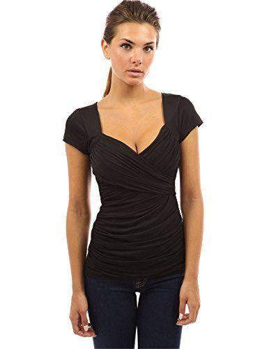 PattyBoutik Damen Bluse V-Ausschnitt mit Rüschen und kurzen Ärmeln (schwarz  44 L). WÄHLEN SIE BITTE IHRE GRÖßE BASIEREND AUF DEM BRUSTUMFANG (SIEHE  UNTEN). 844255c351