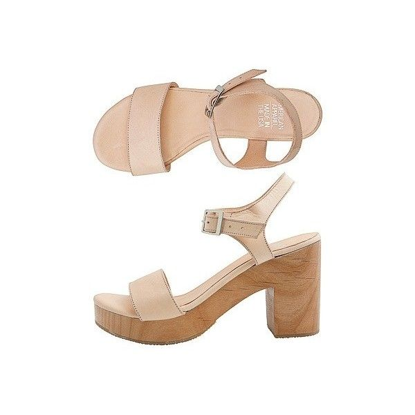 Wooden Heel Sandal   New Colors   New & Now's Women   American Apparel (€100) ❤ liked on Polyvore featuring shoes, sandals, heels, zapatos, platform shoes, heeled sandals, heel platform shoes, american apparel and platform sandals