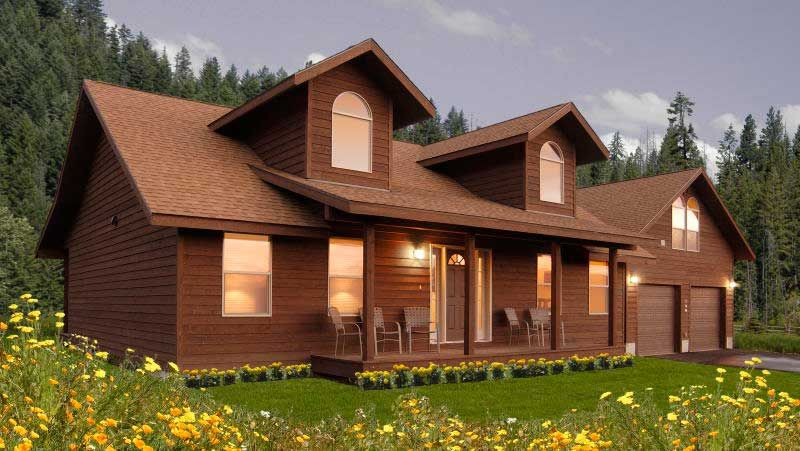 Custom ranch modular home with architectural dormers and
