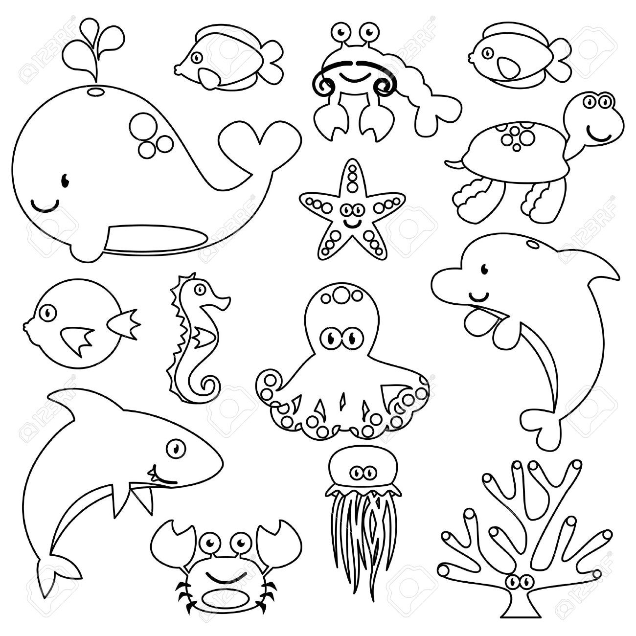 Image result for LINE DRAWINGS OF OCEAN CREATURES | Sea ...
