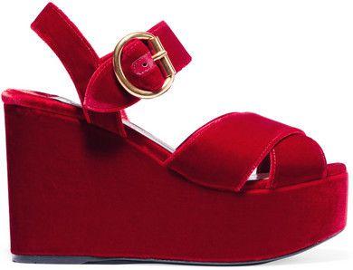 8656645c75d Prada - Velvet Platform Sandals - Red