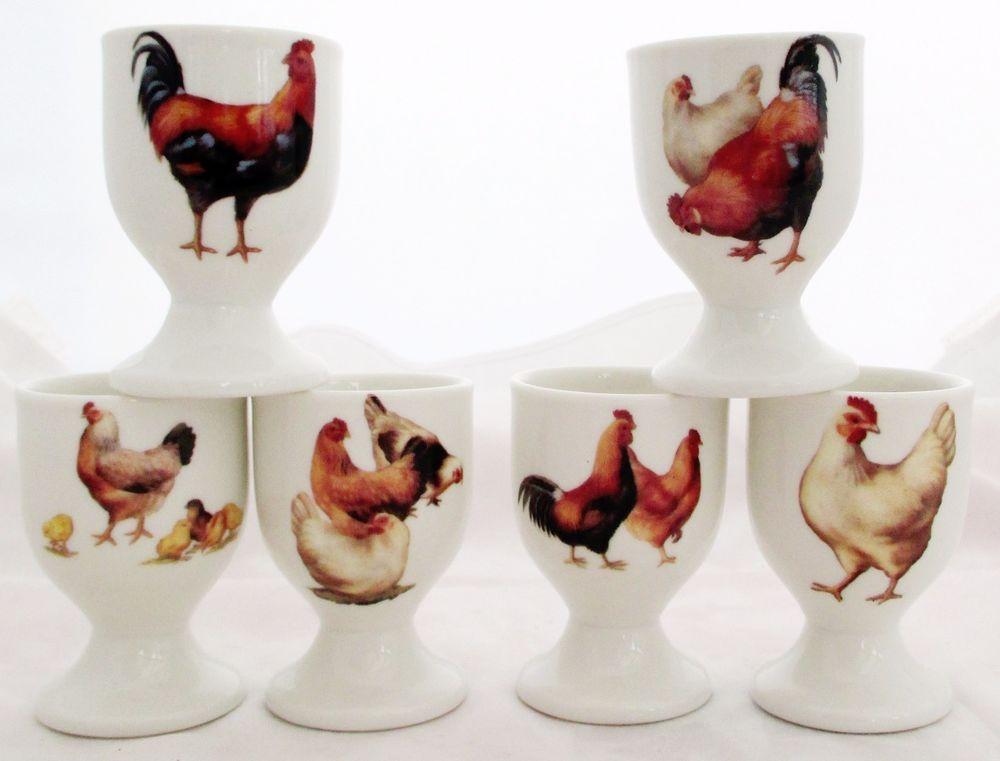 Freen Range Chickens Eggcups Set 6 Bone China Egg Cups Hand ...