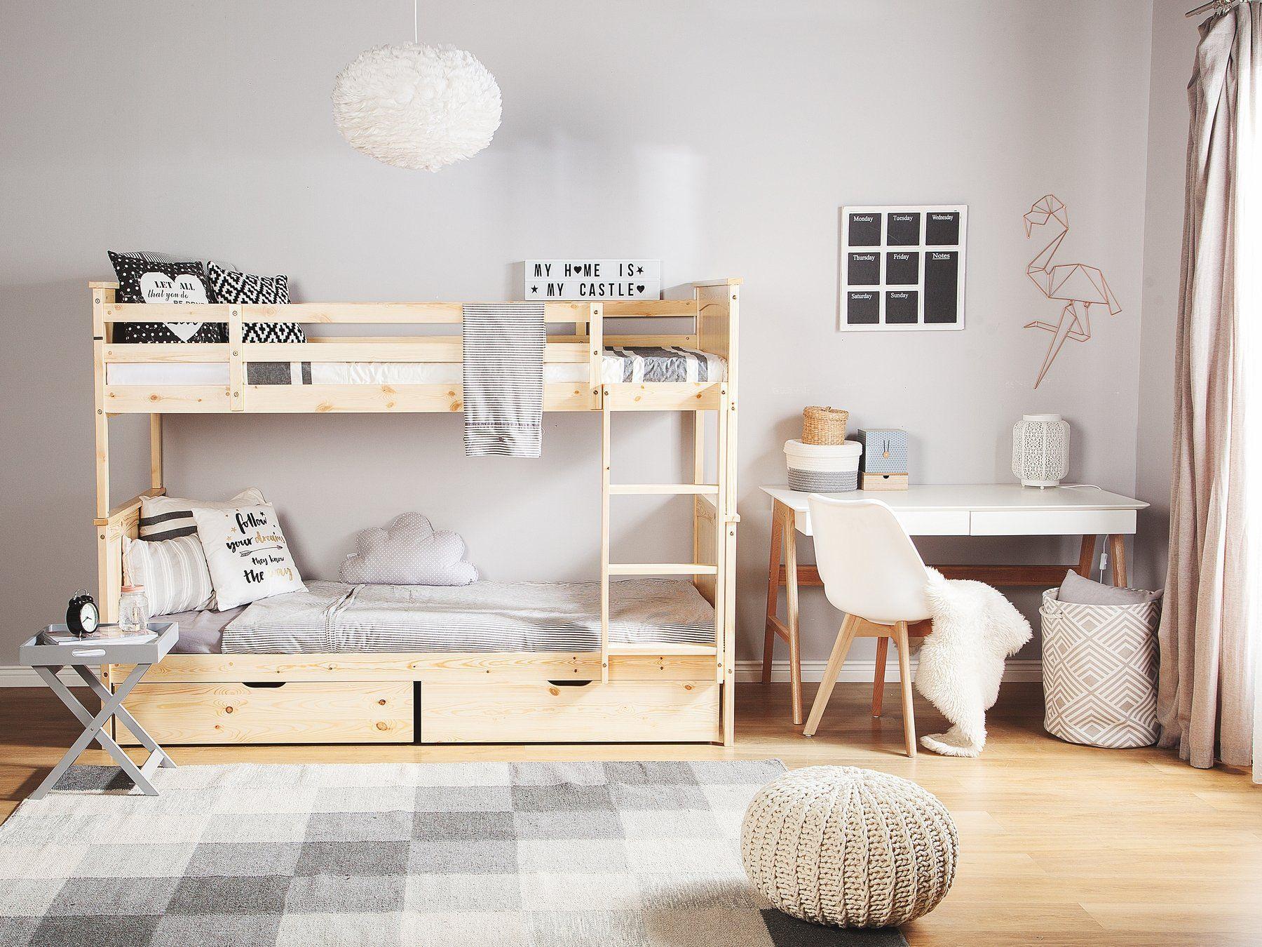 łóżko Piętrowe Jasne Drewno 90 X 200 Cm Radon Pokój
