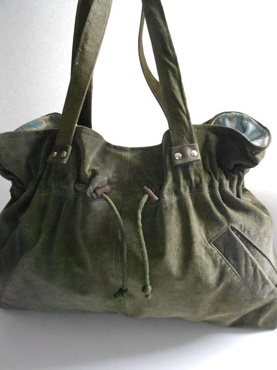 gorgeous olive green suede and leather handbag