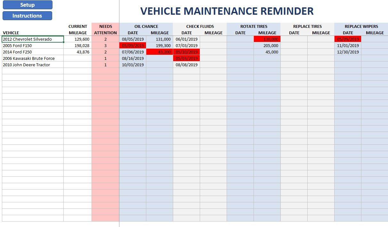 Vehicle Maintenance Reminder Excel Spreadsheets Oil Change Reminder