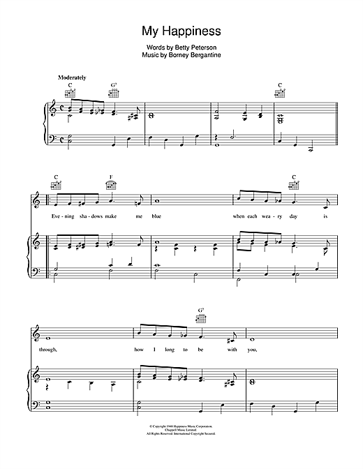 connie francis 39 my happiness 39 sheet music notes chords download printable piano vocal. Black Bedroom Furniture Sets. Home Design Ideas