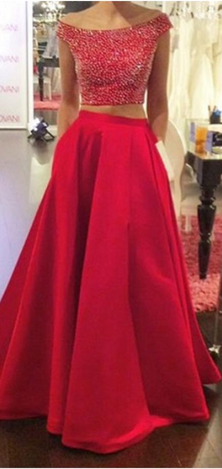 Charming Prom Dress,2 Pieces Prom Dress,O-Neck Prom Dress,Beading Prom Dress,Backless Prom Dress
