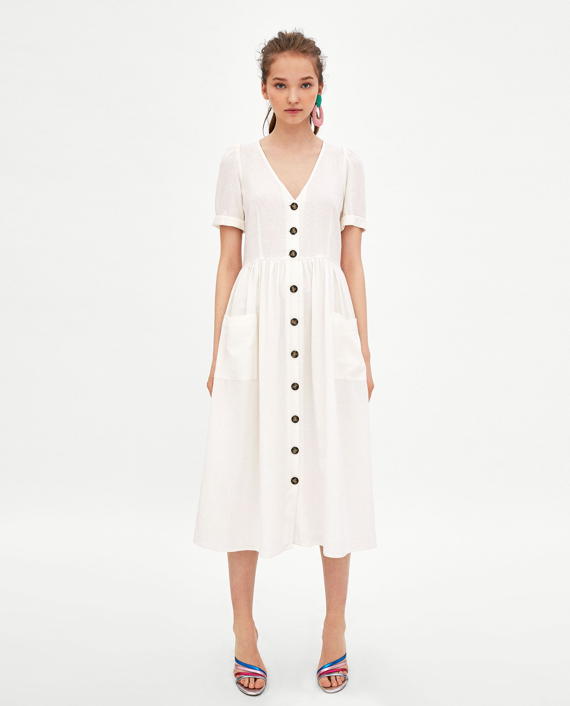 05483331683 ZARA - WOMAN - MIDI DRESS WITH BUTTONS