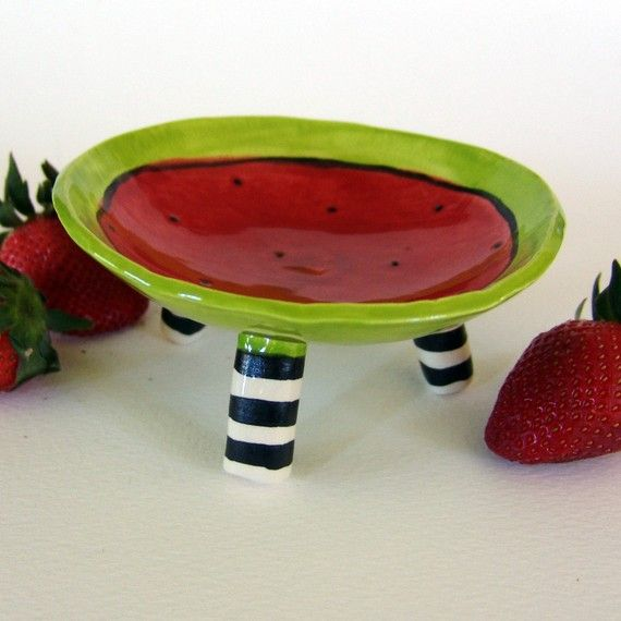 watermelon ceramic dish with striped legs by maryjudy on Etsy
