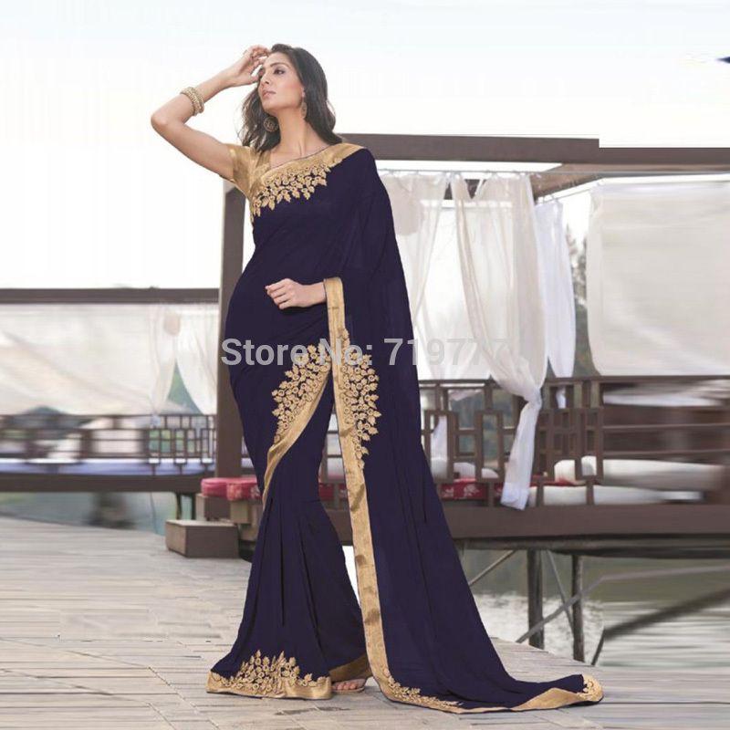 Dark Navy Indische Saree Partei Kleid Schulter Mit Gold Applique ...