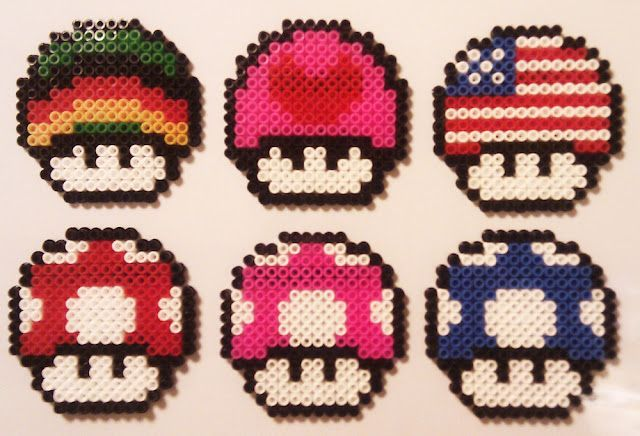 super mario mushrooms hama beads ikea pyssla perles hama pinterest mario setas y ikea. Black Bedroom Furniture Sets. Home Design Ideas