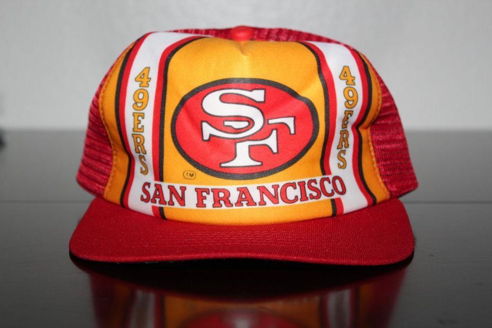 c813cfa1 Vintage New Era Trucker Style Mesh Snapback 49ers NFL Hat 80's ...