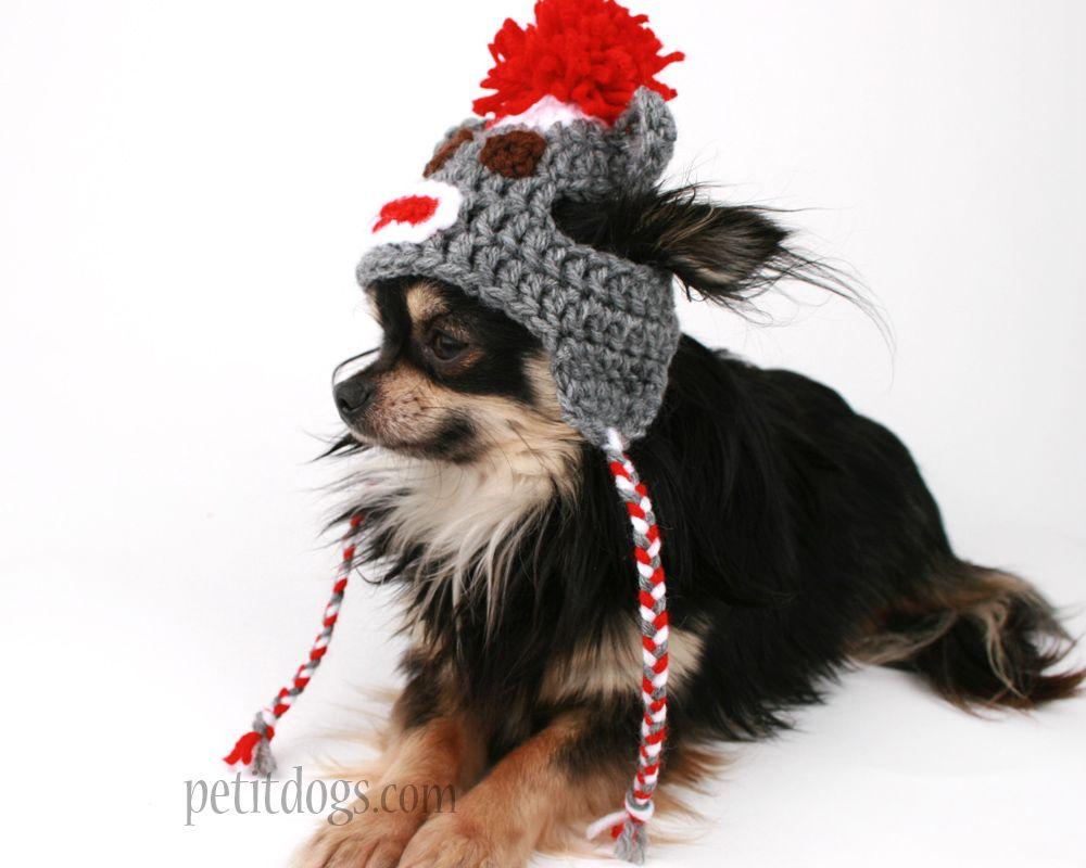 Sock monkey dog hat cute Grey handmade Crochet touque