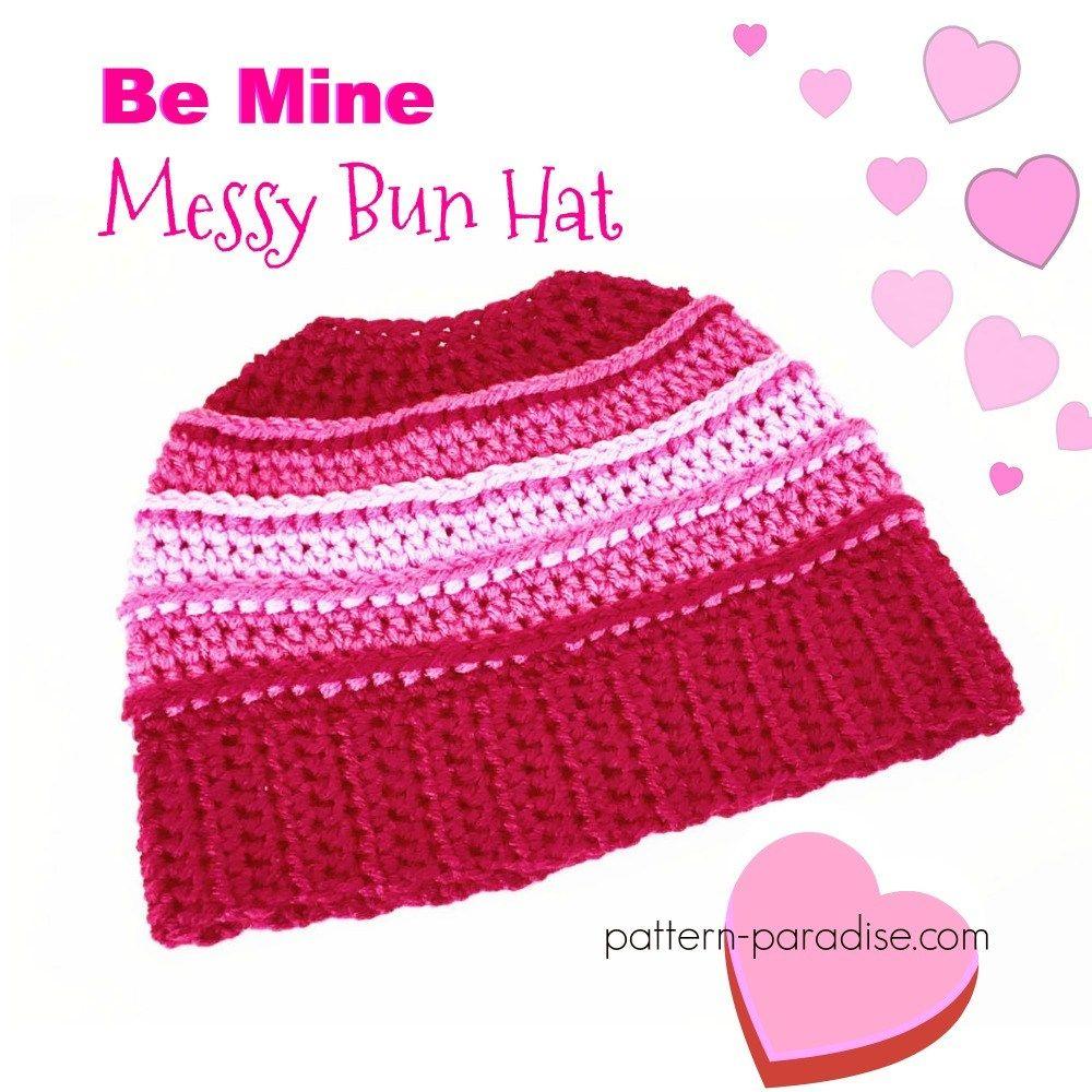 Free crochet pattern for messy bun beanie hat designed by pattern ...