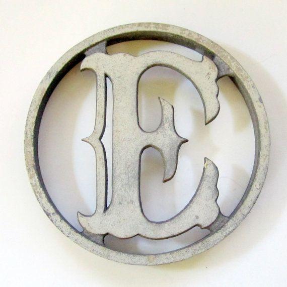 Vintage Aluminum Storm Door Letter Monogram E Aluminum