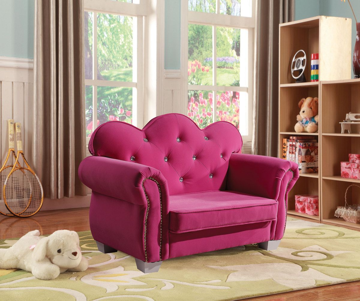 Vivian Youth Chair In Pink Fabric Acme Furniture 59085