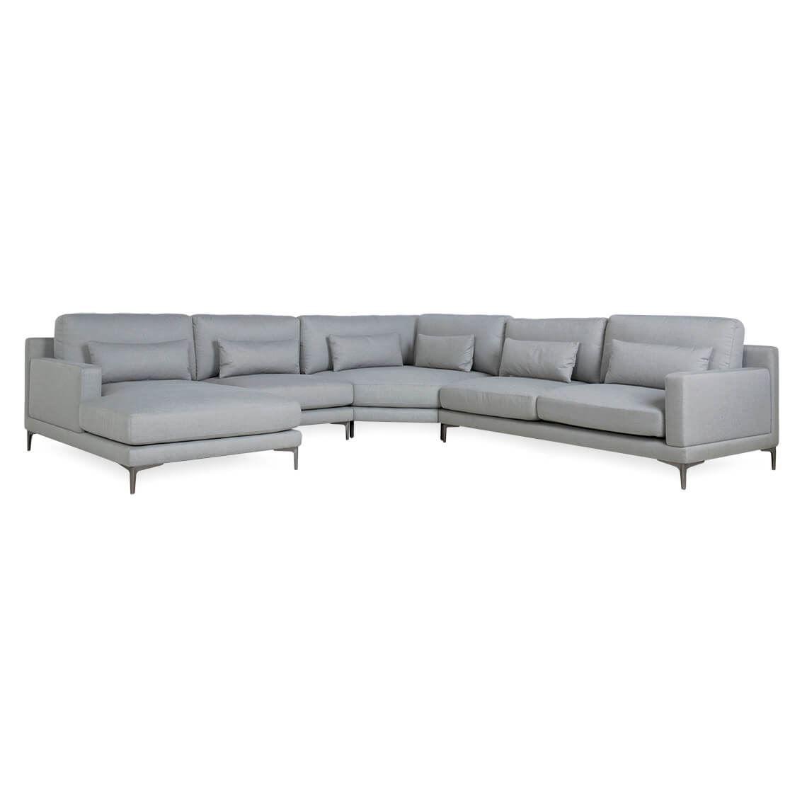 Kin 6 Seat Fabric Corner Modular Sofa With Left Chaise Grey Modular Sofa Chaise Sofa