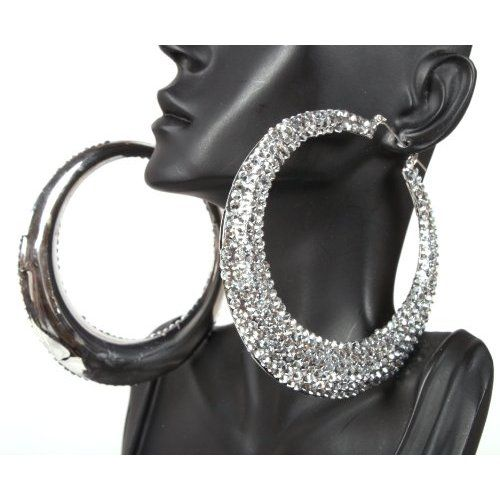 Basketball Wives Silver 3 5 Inch Iced Out Hoop Earrings Lady Gaga