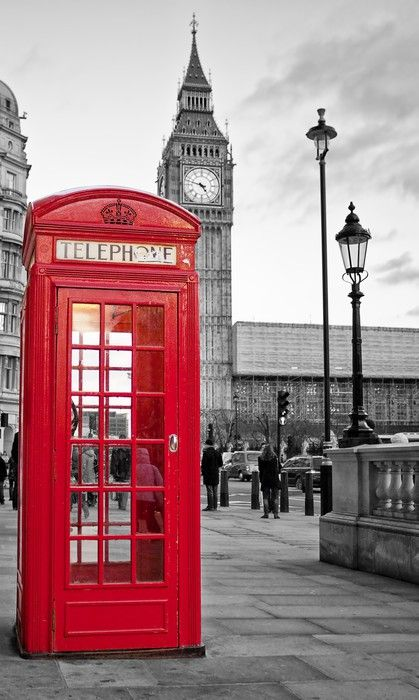 Red phone booth in London with the Big Ben in black and white Wall Mural • Pixers - We live to change