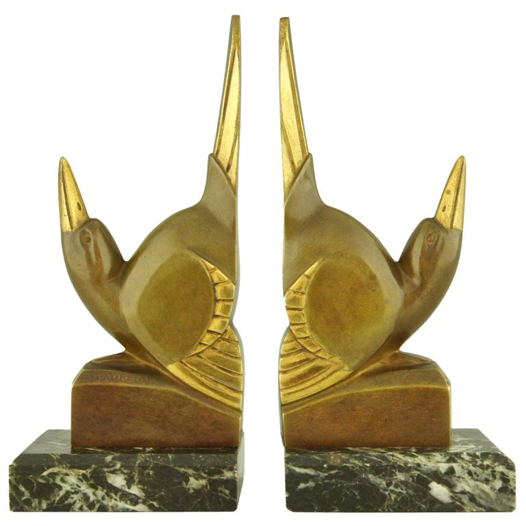 Strikingly Idea Bird Bookends. Pair of Art Deco Bronze Bird Bookends by G H  Laurent Modern