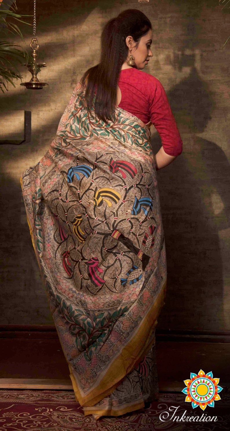 Exclusive Madhubani hand painting Tussar Silk Sari with Blouse piece.