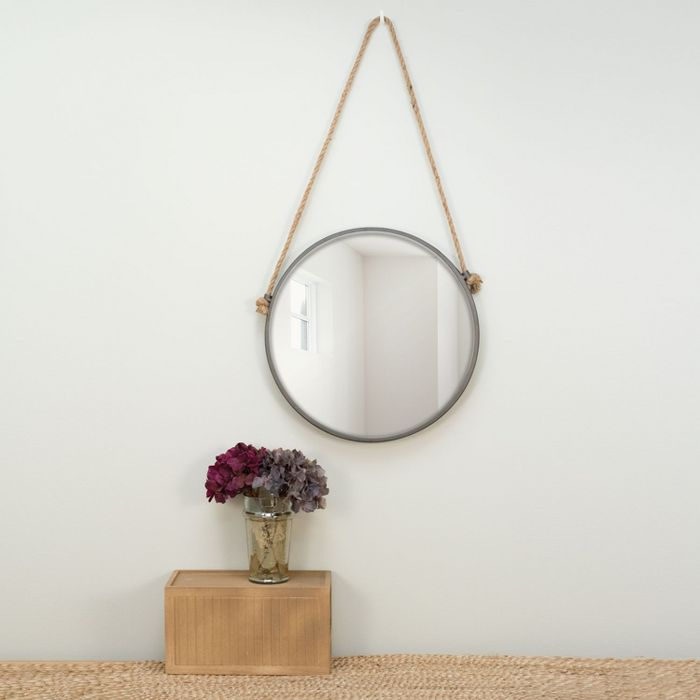 15 Inch Diameter Round Rustic Wall Mirror With Hanging Rope Foreside Home Garden Circle Mirror Mirror Home And Garden