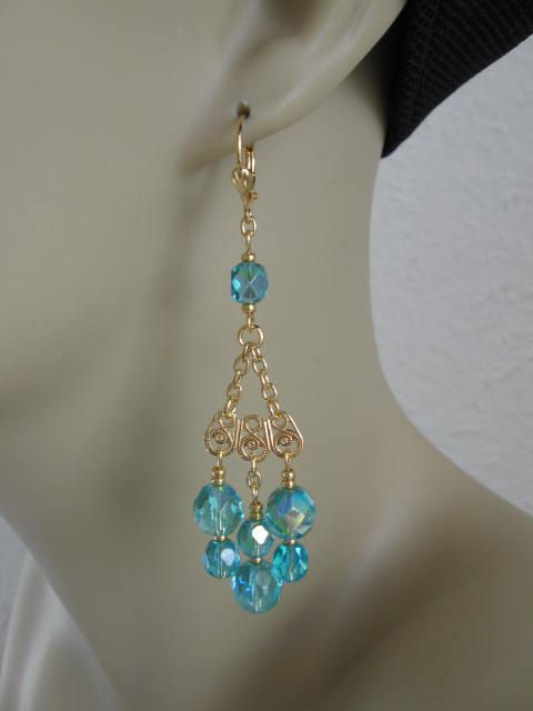 Atlantean Priestess Chandelier Earrings Aqua Dream Of Atlantis – Aqua Chandelier Earrings