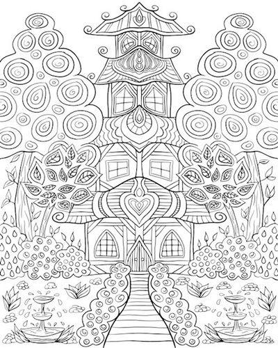 Oriental House Garden Coloring Canvas Coloring Canvas Coloring Books Animal Coloring Pages