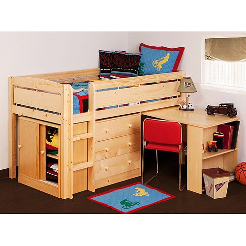 Canwood Whistler Storage Loft Bed With Desk Bundle Natural