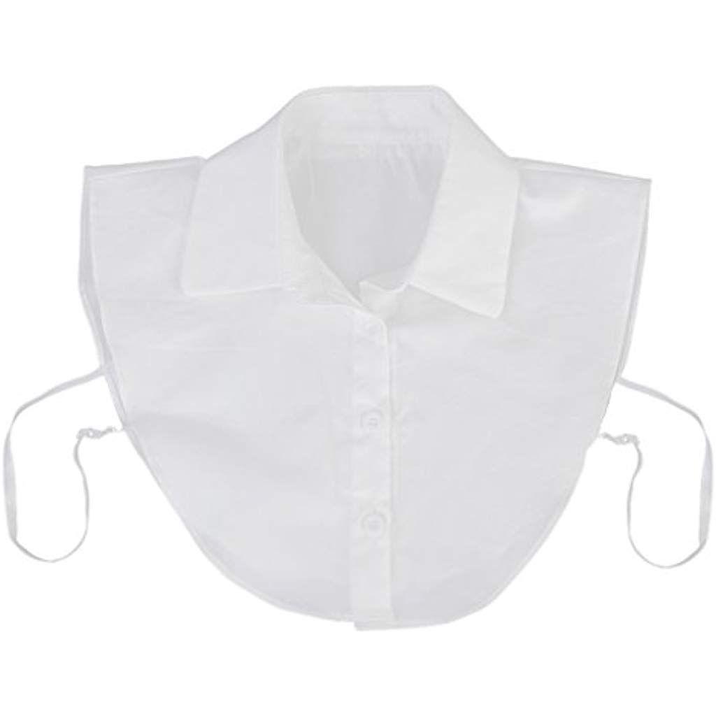 MagiDeal Donne Mezze Magliette Camicia Top Strass Colletto Collare Staccabile