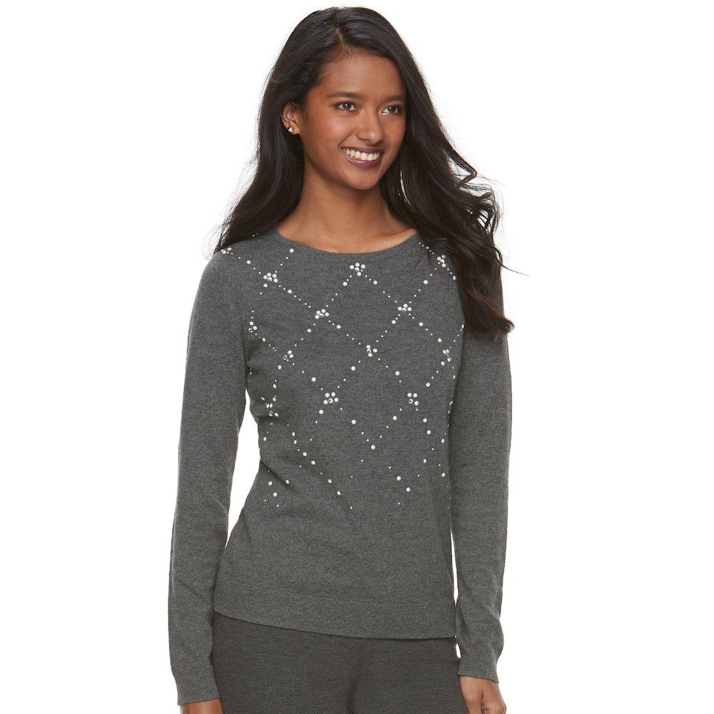 "978124edc Women's Elleâ""¢ Embellished Crewneck Sweater, Size: Medium, Dark Grey"