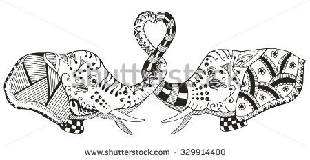 Elephants making heart shape with trunks, zentangle stylized, vector illustration, pattern, freehand pencil, hand drawn - stock vector