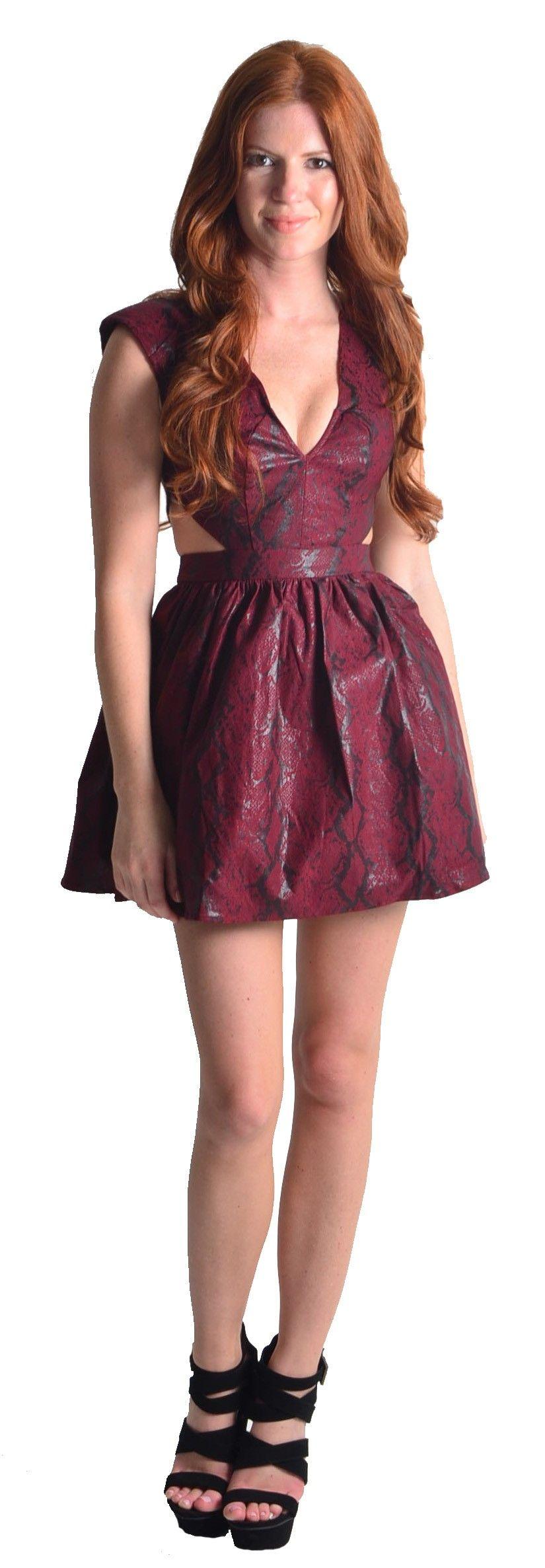 Burgundy Snake Skin Cutout Dress #fallfashion
