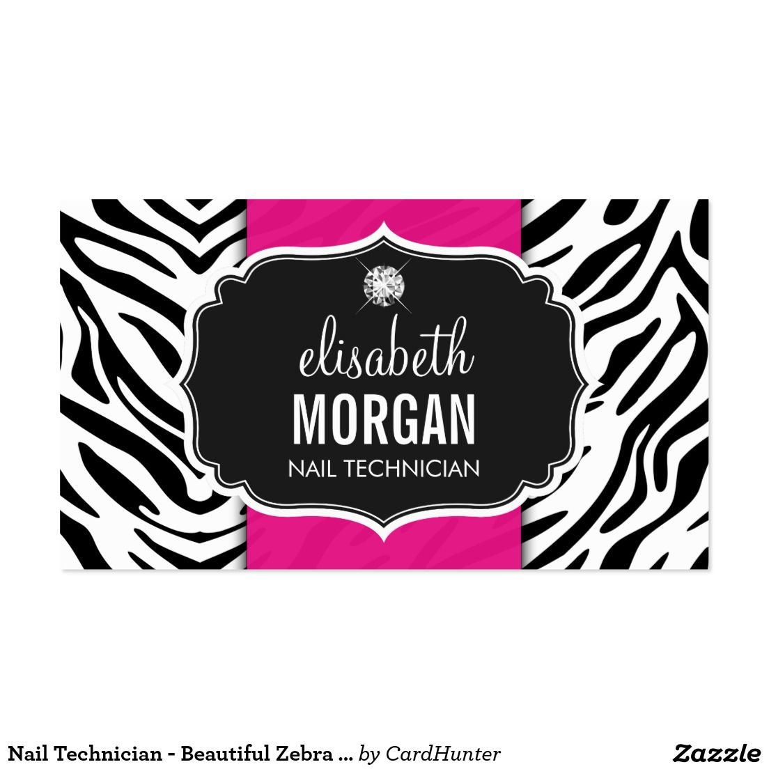 Nail Technician - Beautiful Zebra Print Business Card | Zebra print ...